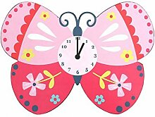 Wanduhr Kinder Rosa Schmetterling
