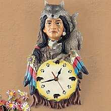 Wanduhr kreative Persönlichkeit Kunst Dekoration Schlafzimmer Wohnzimmer Indische Jäger Design Mute Uhr , Photo Color