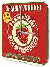 Wanduhr Küchen Deko Erdbeeren Wand Acryl Uhr Vintage
