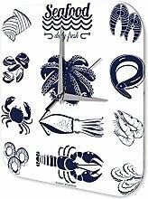 Wanduhr Küchen Deko Meeresfrüchte Wand Acryl Uhr Vintage