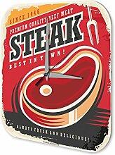 Wanduhr Küchen Deko Steak Wand Acryl Uhr Vintage