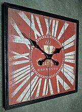 Wanduhr Küchenuhr Uhr Quadrat Vintage Shabby