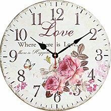Wanduhr Lautlos, Likeluk 12 Zoll(30cm) Vintage Wanduhr Holz Uhr Uhren Wall Clock ohne Tickgeräusche