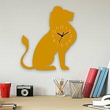 Wanduhr Löwe-Gelb, Kinderuhr, Uhr für Kinderzimmer