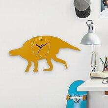 Wanduhr Lotosaurus-Gelb, Kinderuhr, Uhr für Kinderzimmer