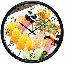Wanduhr Metall Glas Runde Japan Sushi Exquisite