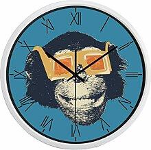 Wanduhr Metall Glas Runde lustige Filmstar Gorilla