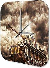Wanduhr Militär Panzer Acryl Wand Deko Uhr Retro