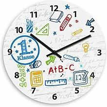 Wanduhr mit 1. Klasse-Motiv zur Einschulung für Jungen | Kinderzimmer-Uhr | Kinder-Uhr