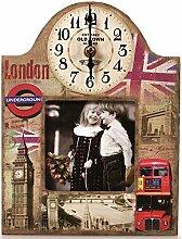 Wanduhr mit Bilderrahmen 26 cm London Nostalgie Uhr UK England
