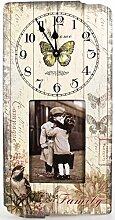 Wanduhr mit Bilderrahmen Campagne Family 40 cm Nostalgie Uhr Frankreich home sweet home