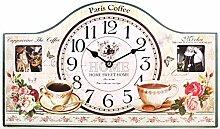 Wanduhr mit Bilderrahmen Paris Coffee 40 cm Nostalgie Uhr Frankreich home sweet home
