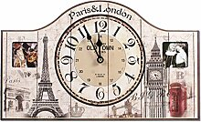 Wanduhr mit Bilderrahmen Paris & London 40 cm Nostalgie Uhr UK England Frankreich Eiffelturm Big Ben
