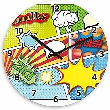 Wanduhr mit Comic-Motiv für Kinder | Kinderzimmer-Uhr | Kinder-Uhr