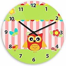 Wanduhr mit Eulen-Motiv – rot - für Mädchen | Kinderzimmer-Uhr | Kinder-Uhr