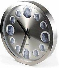 Wanduhr mit Fotorahmen Bilderrahmen Durchmesser 50 cm, Stahl-Look