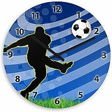 Wanduhr mit Fußballer-Motiv für Jungen – blau - | Kinderzimmer-Uhr | Kinder-Uhr