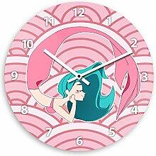 Wanduhr mit Meerjungfrau-Motiv in rosa für Mädchen | Kinderzimmer-Uhr | Kinder-Uhr