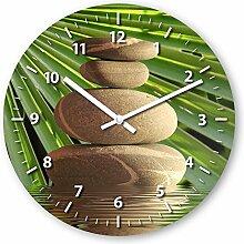 Wanduhr mit Motiv - Balance Steine - aus Echt-Glas | runde Küchen-Uhr | große Uhr modern