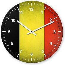 Wanduhr mit Motiv - Belgien Flagge - aus Echt-Glas | runde Küchen-Uhr | große Uhr modern