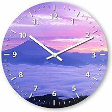 Wanduhr mit Motiv - Bergpanorama - aus Echt-Glas | runde Küchen-Uhr | große Uhr modern