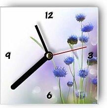 Wanduhr mit Motiv - Blaue Blumen