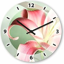 Wanduhr mit Motiv - Blume rosa - aus Echt-Glas | runde Küchen-Uhr | große Uhr modern