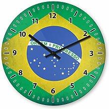 Wanduhr mit Motiv - Brasilien Flagge - aus Echt-Glas | runde Küchen-Uhr | große Uhr modern