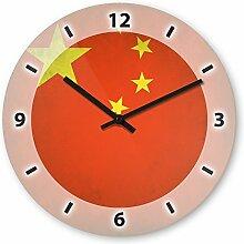 Wanduhr mit Motiv - China Flagge - aus Echt-Glas | runde Küchen-Uhr | große Uhr modern