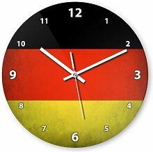 Wanduhr mit Motiv - Deutschland Flagge - aus Echt-Glas | runde Küchen-Uhr | große Uhr modern