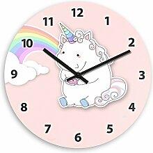 Wanduhr mit Motiv – Einhorn mit Donut und Regenbogen - für Mädchen | Kinderzimmer-Uhr | Kinder-Uhr