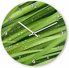 Wanduhr mit Motiv - Fahnenblätter - aus Echt-Glas | runde Küchen-Uhr | große Uhr modern