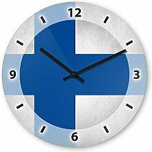Wanduhr mit Motiv - Finnland Flagge - aus Echt-Glas | runde Küchen-Uhr | große Uhr modern