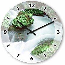 Wanduhr mit Motiv - Fluss - aus Echt-Glas | runde Küchen-Uhr | große Uhr modern