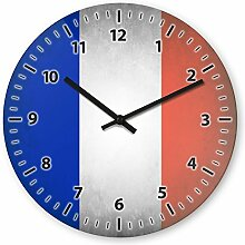 Wanduhr mit Motiv - Frankreich Flagge - aus Echt-Glas | runde Küchen-Uhr | große Uhr modern