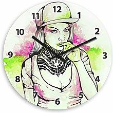 Wanduhr mit Motiv – Graffiti-Girl - für Teens | Kinderzimmer-Uhr | Kinder-Uhr
