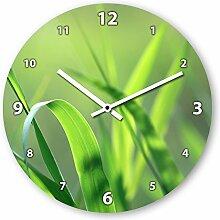 Wanduhr mit Motiv - Grashalme - aus Echt-Glas | runde Küchen-Uhr | große Uhr modern