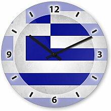 Wanduhr mit Motiv - Griechenland Flagge - aus Echt-Glas | runde Küchen-Uhr | große Uhr modern