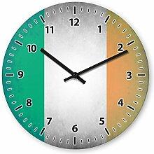 Wanduhr mit Motiv - Irland Flagge - aus Echt-Glas | runde Küchen-Uhr | große Uhr modern