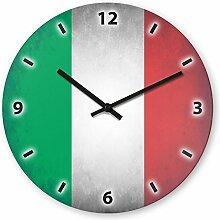 Wanduhr mit Motiv - Italien Flagge - aus Echt-Glas | runde Küchen-Uhr | große Uhr modern