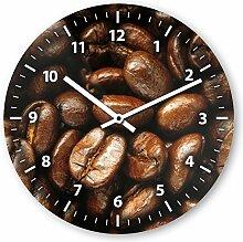 Wanduhr mit Motiv - Kaffeebohne - aus Echt-Glas | runde Küchen-Uhr | große Uhr modern