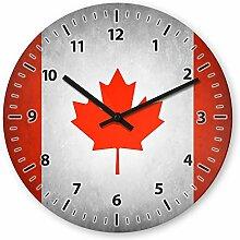 Wanduhr mit Motiv - Kanada Flagge - aus Echt-Glas | runde Küchen-Uhr | große Uhr modern