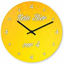 Wanduhr mit Motiv - Kein Bier vor 4 (Variante 1) - aus Echt-Glas | runde Küchen-Uhr | große Uhr modern