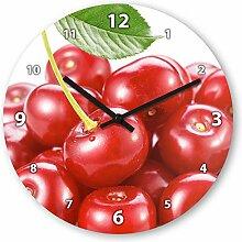Wanduhr mit Motiv - Kirsche - aus Echt-Glas | runde Küchen-Uhr | große Uhr modern