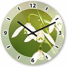 Wanduhr mit Motiv - Maiglöckchen - aus Echt-Glas | runde Küchen-Uhr | große Uhr modern