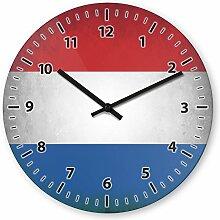 Wanduhr mit Motiv - Niederlande Flagge - aus Echt-Glas | runde Küchen-Uhr | große Uhr modern