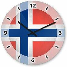 Wanduhr mit Motiv - Norwegen Flagge - aus Echt-Glas | runde Küchen-Uhr | große Uhr modern