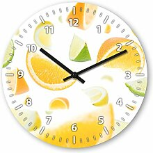 Wanduhr mit Motiv - Obstsalat - aus Echt-Glas | runde Küchen-Uhr | große Uhr modern