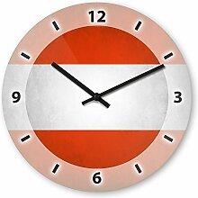 Wanduhr mit Motiv - Österreich Flagge - aus Echt-Glas | runde Küchen-Uhr | große Uhr modern
