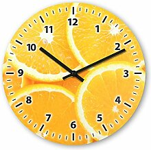 Wanduhr mit Motiv - Orange - aus Echt-Glas | runde Küchen-Uhr | große Uhr modern